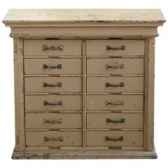 Original Painted 12-Drawer Cabinet with in a Distressed Look