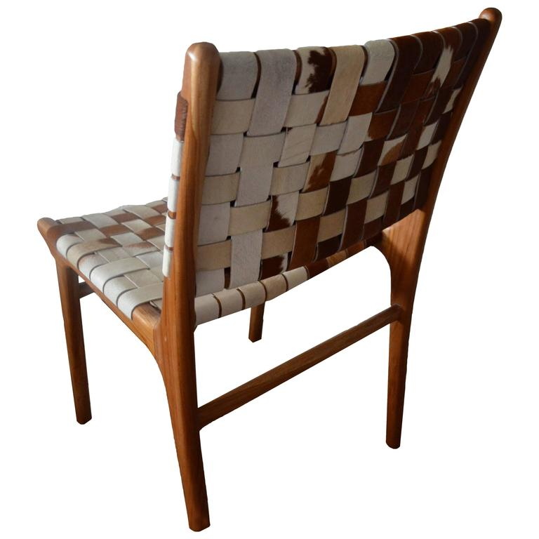 Cowhide Dining Room Chairs: Andrianna Shamaris Premium Double-Backed Teak Wood Cowhide