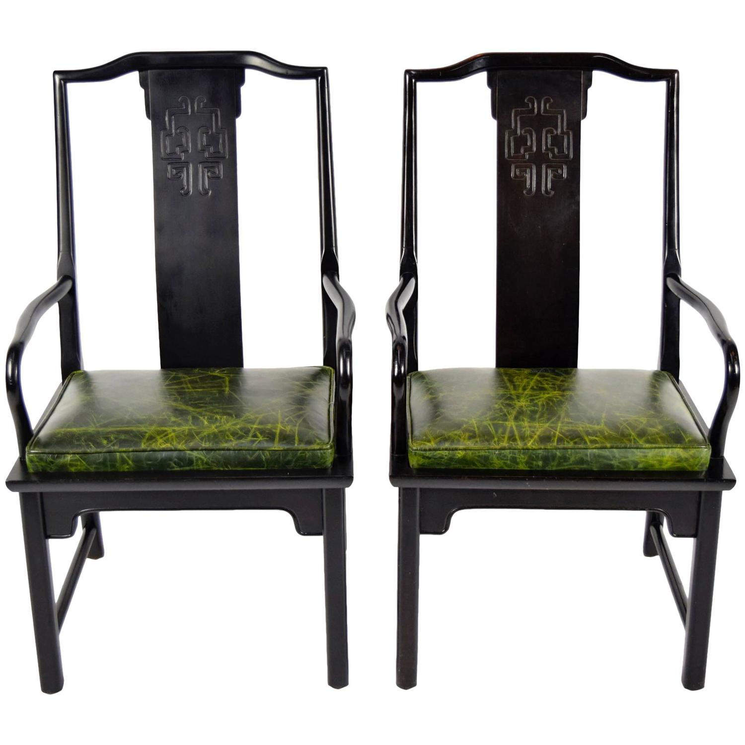 Pair of chin hua asian modern style chairs with leather for Oriental dining room furniture for sale