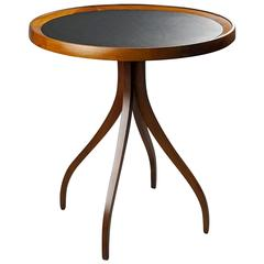 Sculptural, Graceful Side Table with Leather Top by Kipp Stewart, 1960s