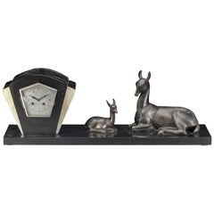 Irenee Rochard French Art Deco Large Mantle Clock with Deer, circa 1925