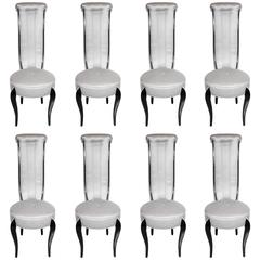 Elegant Set of Eight 1940s Hollywood High Back Dining Chairs in Black Lacquer