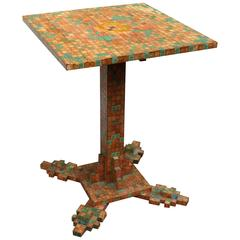 Obsessively Stamp-Decorated Folk Art Table, American Modernist