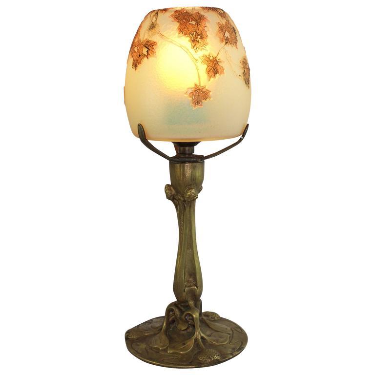 Daum Nancy Cameo Lamp With Eugene Blot Paris Bronze Signed Base Ca 1900 At 1stdibs