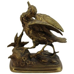 Paul Edouard Delabrierre Animalier Gilt Bronze Bird, circa 1860