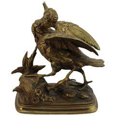 Paul Edouard Delabrierre Animalier Gilt Bronze Bird, circa 1860
