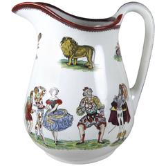English Staffordshire Ironstone Elsmore & Forster Harlequin Jug, 19th Century