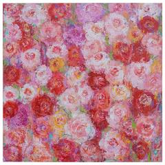 """""""Roses for Alexa"""", Original Acrylic, Signed by Artist Sheema Muneer Lower Right"""