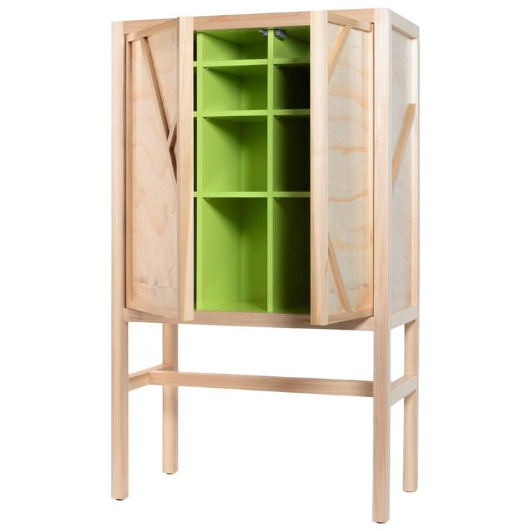 Inside-Out Credenza Prototype Lungo, Fine Cupboard Lacquer Finish, Bar Cabinet