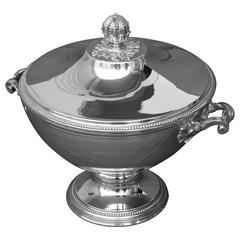 French large Silver Soup Tureen by Tetard Freres