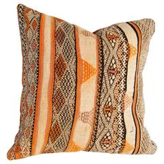 Custom Pillow Cut from a Vintage Moroccan Hand-Loomed Wool  Berber Rug