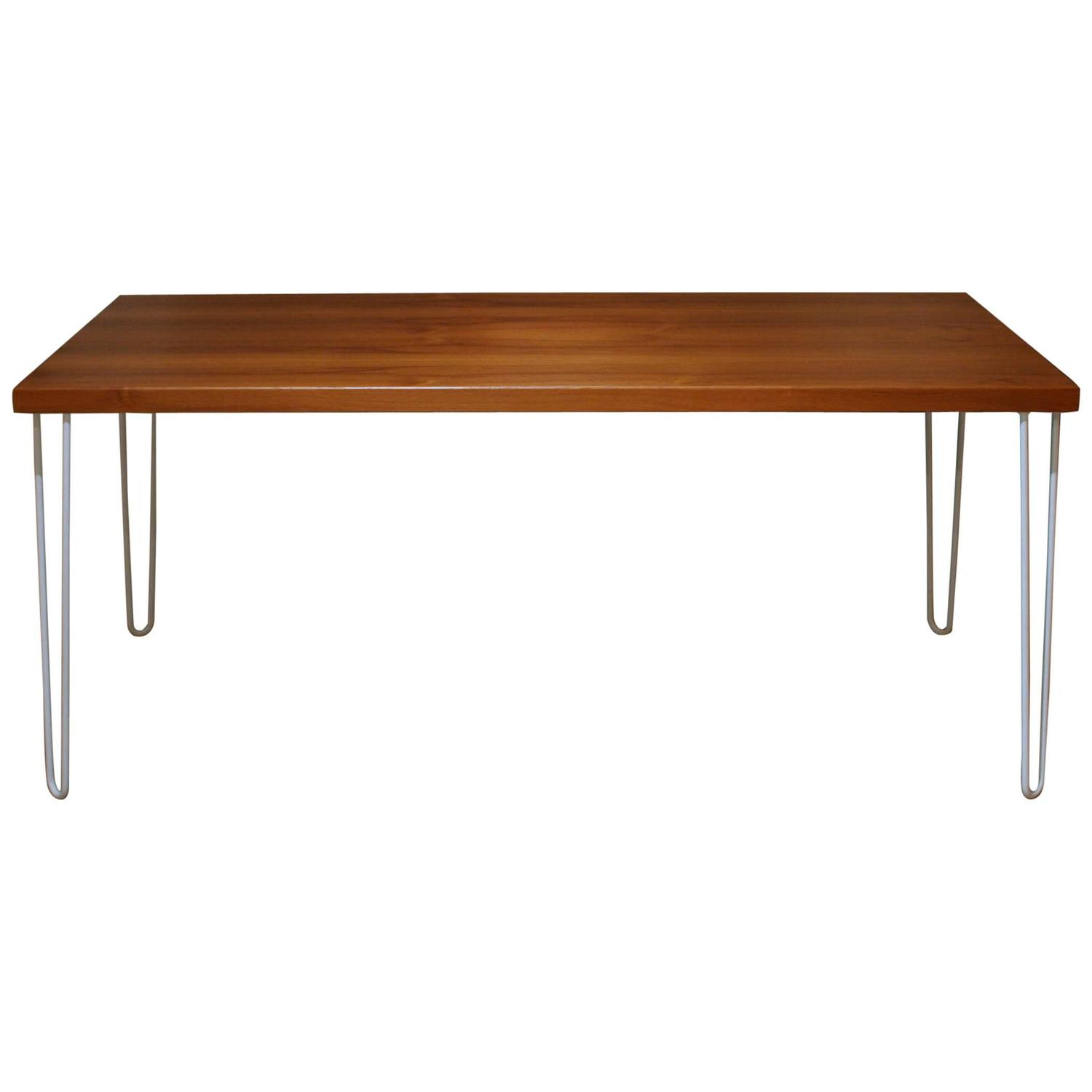 Teak dining table with metal legs at 1stdibs for Dining table with metal legs