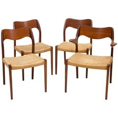 Set of Four Danish Teak Dining Chairs, Moller #71 and #55