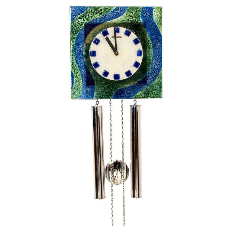 Funky Mid Century Modern Wall Clock 1960s Leerdam Glass At