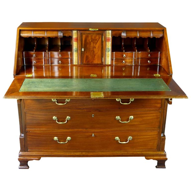 Bureau Desk 18th Century Georgian With Secret Compartments Cuban Gany