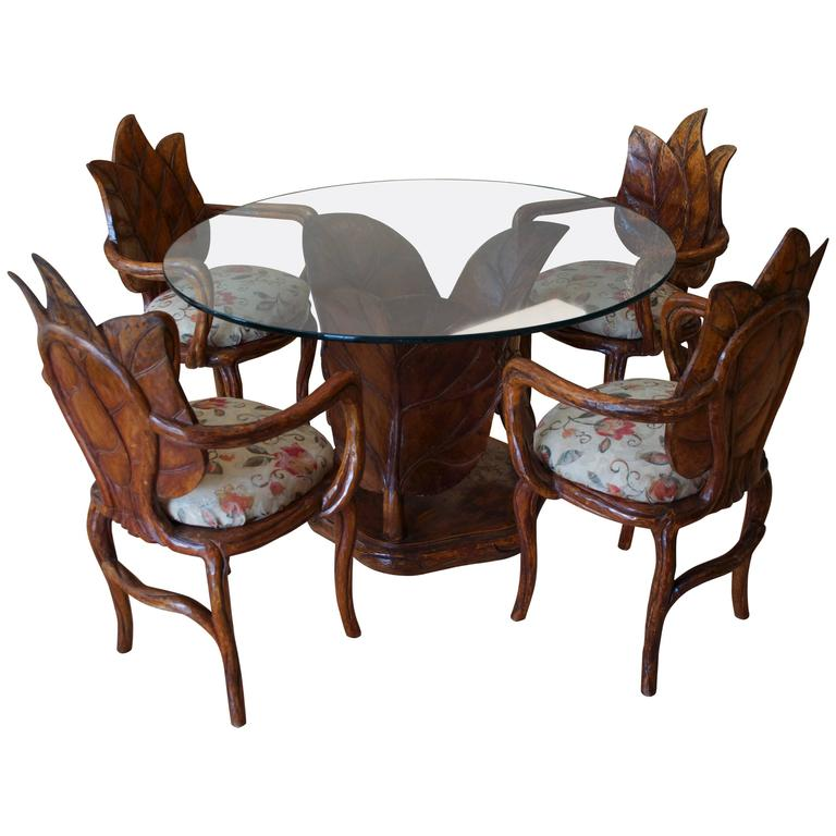 Italian Leaf Table And Chairs Imported By Laverne  : 3870552l from www.1stdibs.com size 768 x 768 jpeg 49kB