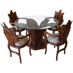 Italian Leaf Table And Chairs Imported By Laverne Galleries