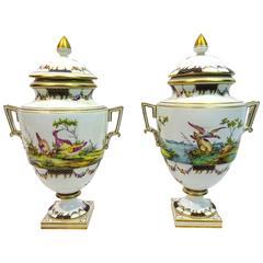 Pair of Late 18th Century Porcelain Lidded Vases by Oude Loosdrecht Porcelain