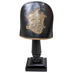 Mid 1800's Leather & Felt German Infantry Jäger Headgear on stand