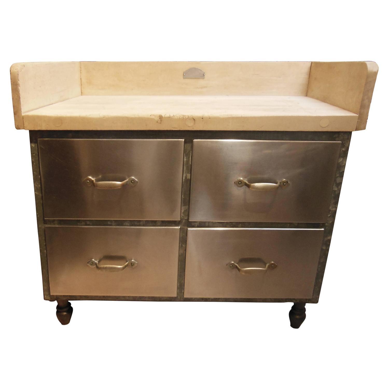 fantastic vintage baker s cabinet with butcher block top