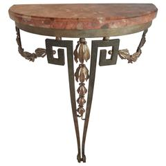 19th Century French Louis XVI Style Wrought Iron Console Table With Marble Top