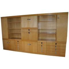 Bird's-Eye Maple 12 Ft Modular Wall Cabinet Designed by Brian Palmer for Baker