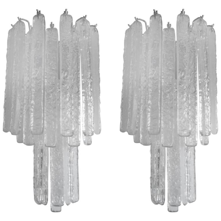 Pair Of Mid Century Italian Venini Style Murano Glass Icicle Sconces