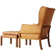 Mogens Koch Wingback Chair and Ottoman