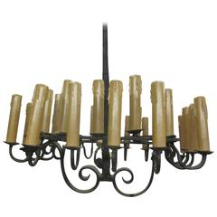 French Mid-Century Hand Wrought Iron Chandelier with 28 lights, 1940