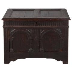 English 17th Century Carved Oak Coffer
