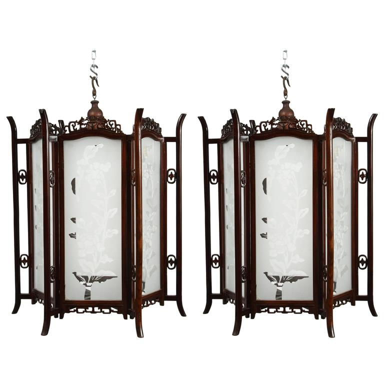 Pair of 19th Century Glass and Rosewood Chinese Lanterns