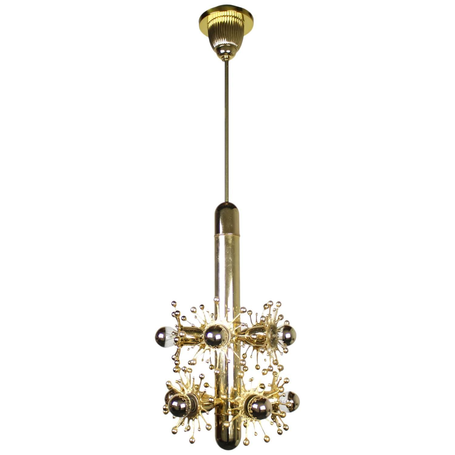 Midcentury Gold Sputnik Style Pendant Light With Mirrored
