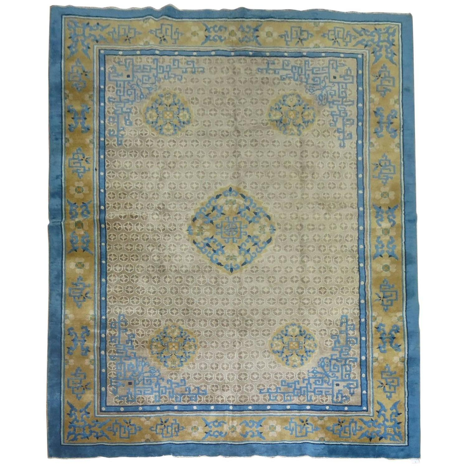 Vintage Chinese Art Deco Peking Inspired Rug For Sale At