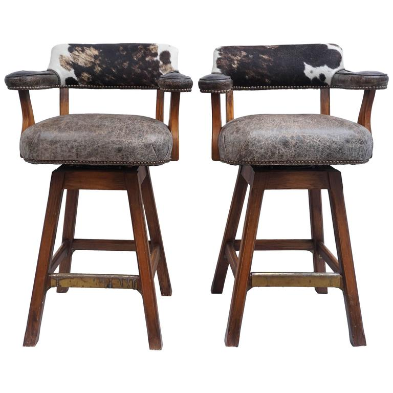 Pair Of Swivel Stools Cowhide And Leather 1980s At 1stdibs
