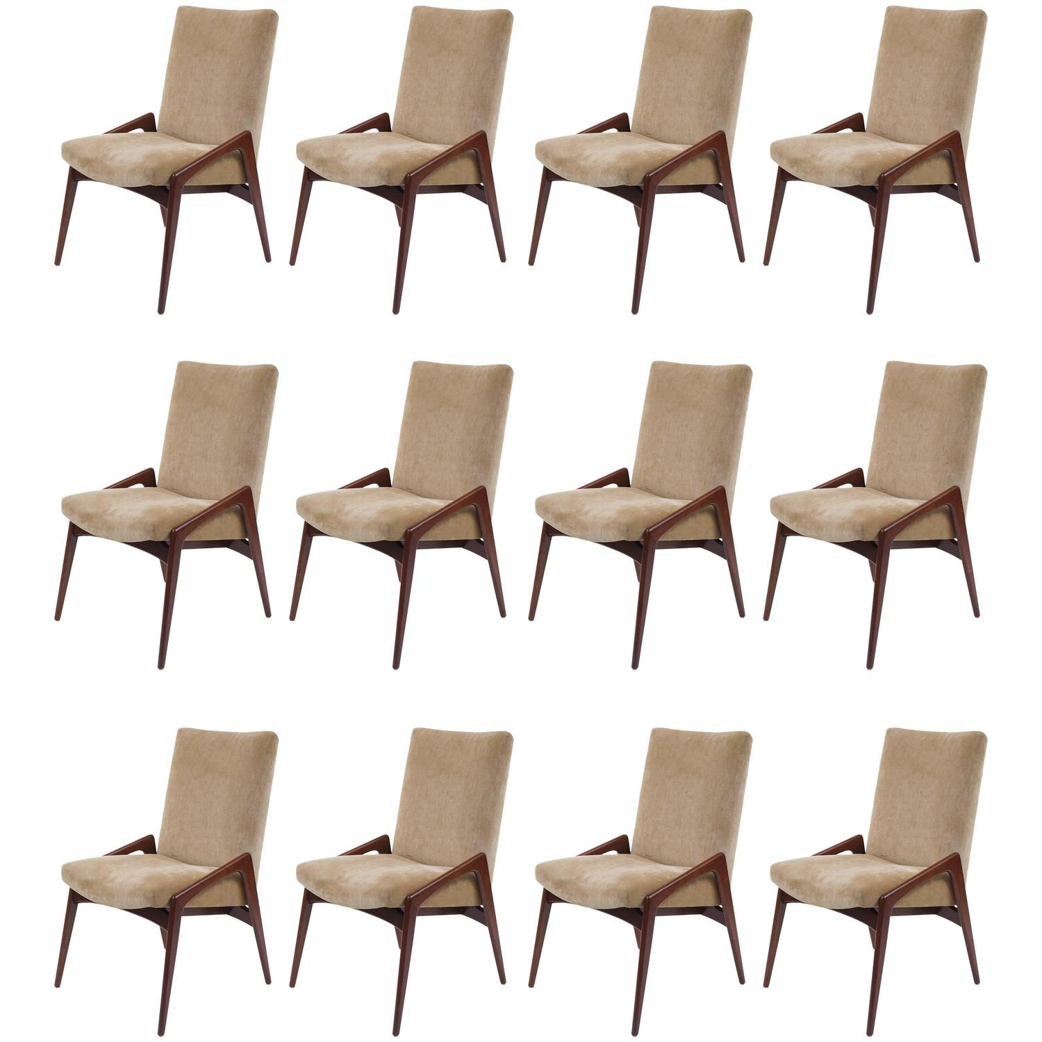 Set Of 12 Mid Century Modern Upholstered Dining Chairs At 1stdibs