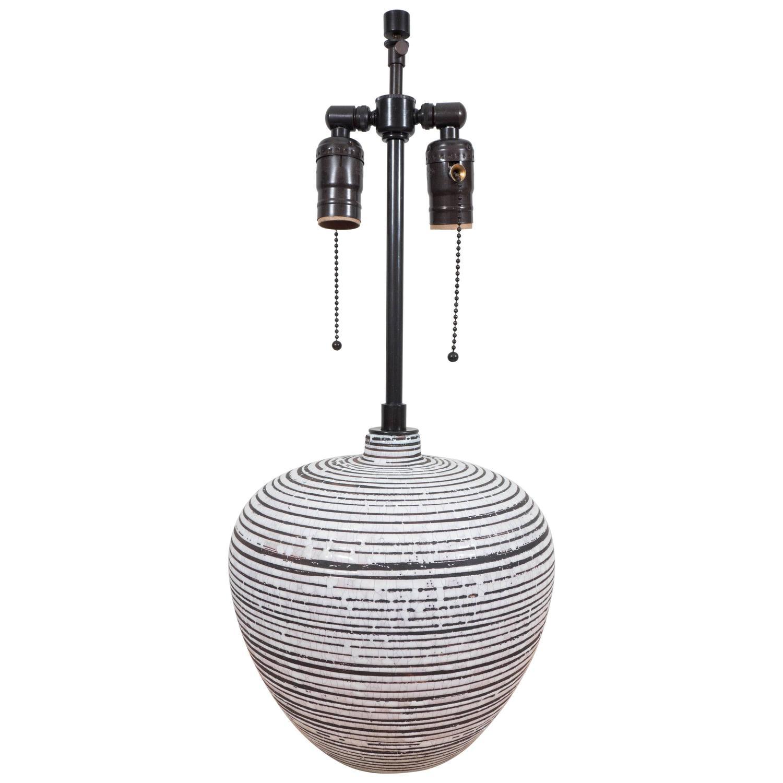 Ceramic Lamp By Felix Gete, CAB, Circular Rings In Brown