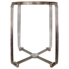 English Art Deco Chrome, Aluminum and Hard Rubber Side Table or Stool by Alpax