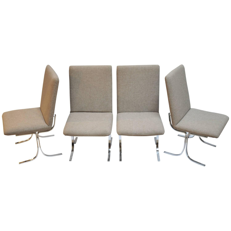 Set of four danish modern chrome and upholstered dining for Modern upholstered dining room chairs
