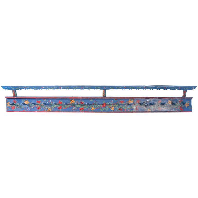Long Antique Romanian Rack with Original Blue Paint