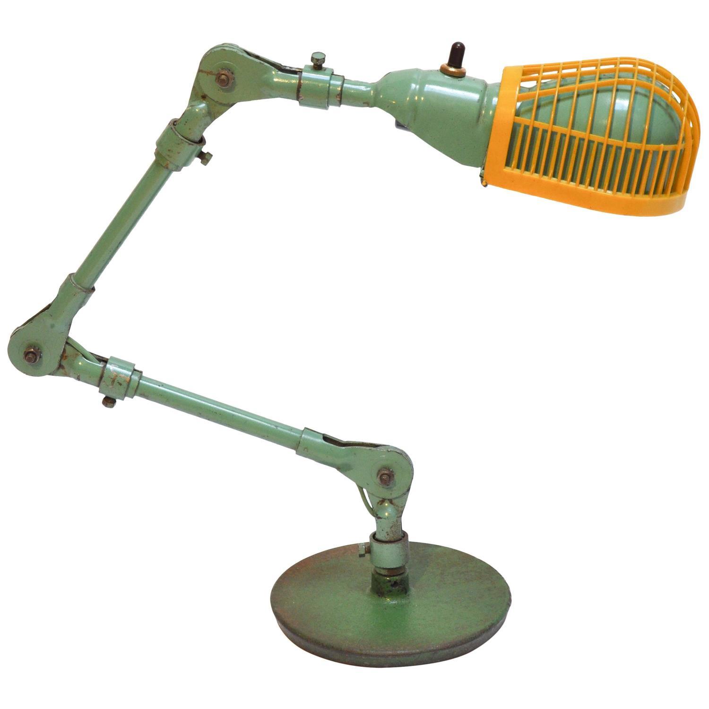 Midcentury Fostoria Articulated Task Lamp with Original Heat Guard ...