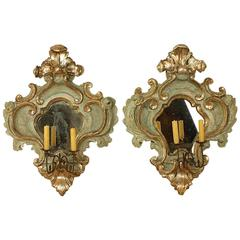 Pair of Italian Baroque Painted and Silvered Sconces or Wall Lights