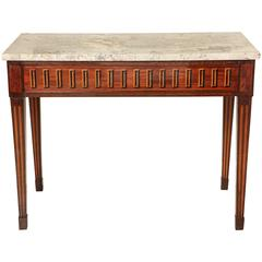 19th Century Italian Empire Console Table with Inlaid Apron and Marble Top