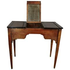18th Century Country French Fruitwood Lift Top Dressing Table