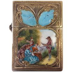 Sterling Silver and Enamel, Engraved Lighter Case with a Minstral Scene