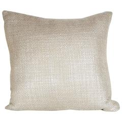 Custom Textured Woven Metallic Platinum Pillow with Linen Backing