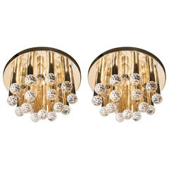 Pair of Mid-Century Modernist Cut Crystal and Brass Flush Mount Chandeliers