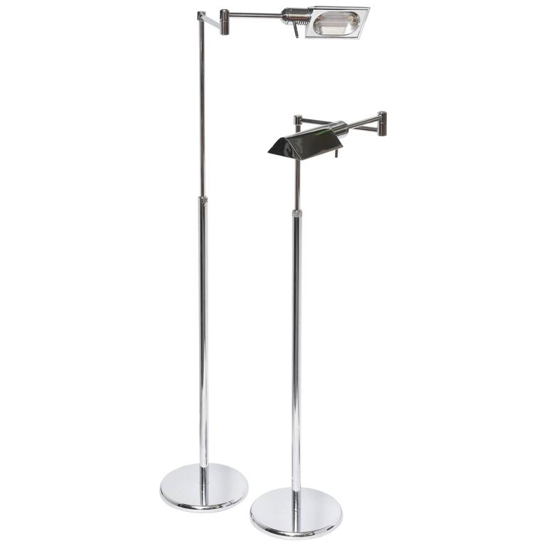 Pair of Mid-Century Italian Adjustable Floor Lamps in Chrome