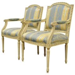 Pair of French Louis XVI Style Carved Cream Painted Fauteuil Dining Arm Chairs A