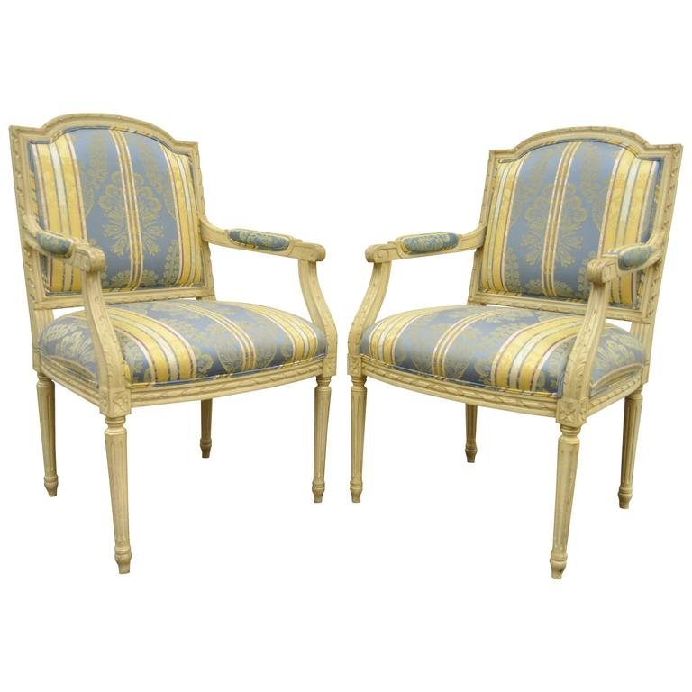 Pair of French Louis XVI Style Finely Carved & Painted Fauteuils or Armchairs