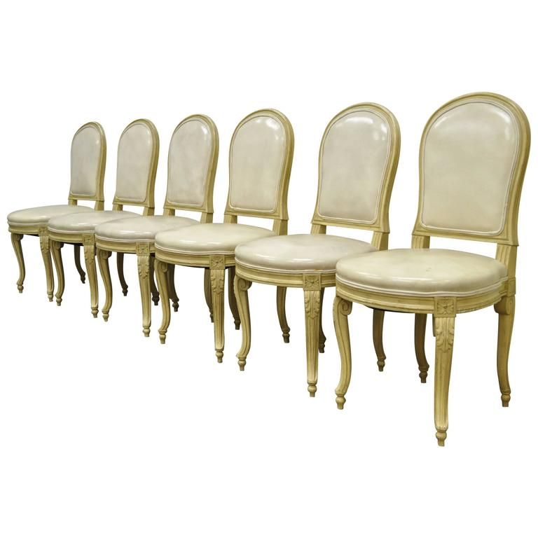 set of 6 french louis xv style carved u0026 painted cream leather dining chairs 1